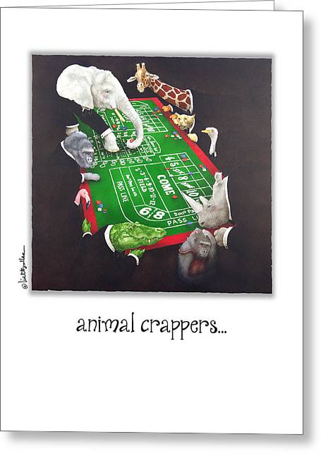 Animal Crappers... Greeting Card by Will Bullas