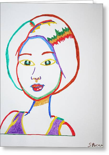 Anime Asian Girl Greeting Card by Stormm Bradshaw