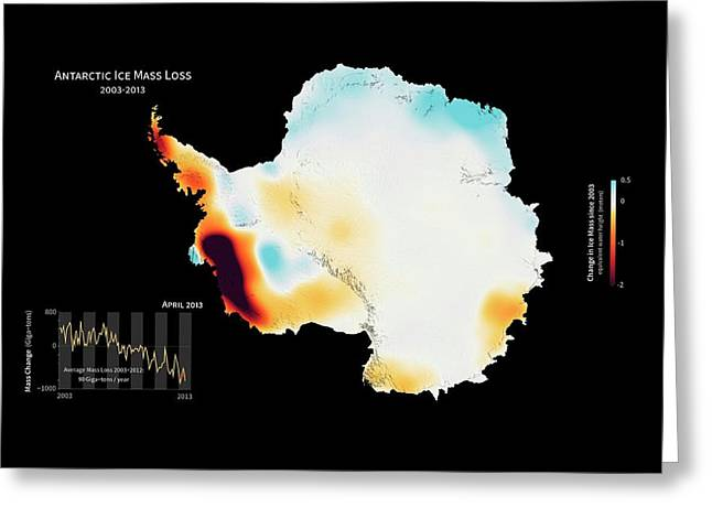 Antarctic Ice Mass Change 2003-2013 Greeting Card by Nasa