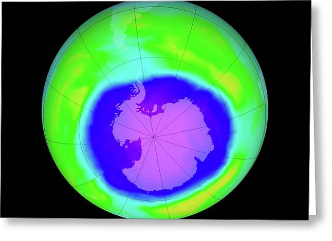 Antarctic Ozone Hole Maximum Greeting Card by Nasa/goddard Space Flight Center