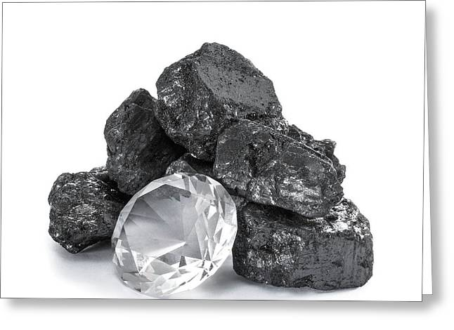 Anthracite And Diamond Greeting Card by Science Photo Library