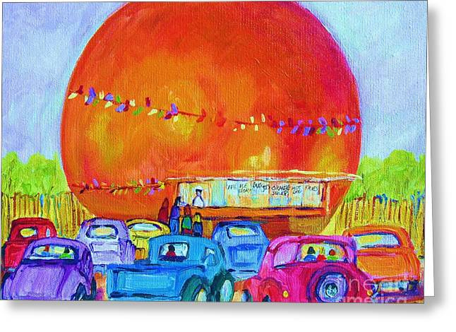 Greeting Card featuring the painting Antique Cars At The Julep by Carole Spandau