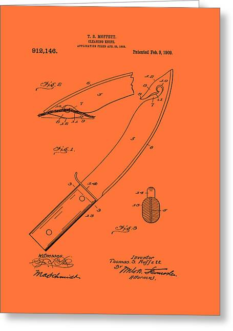 Antique Cleaning Knife Patent 1909 Greeting Card by Mountain Dreams