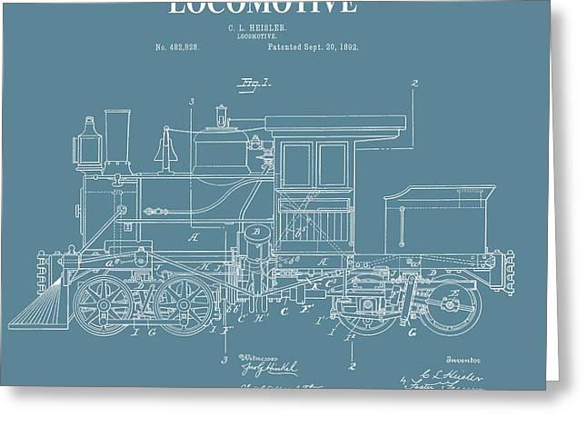 Antique Locomotive Patent Greeting Card