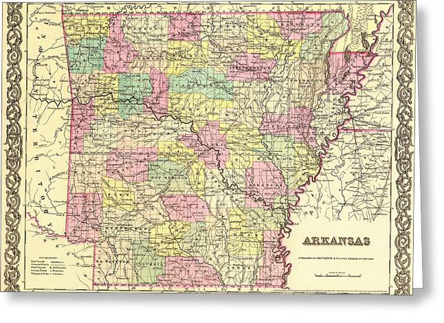 Antique Map Of Arkansas 1855 Greeting Card by Mountain Dreams