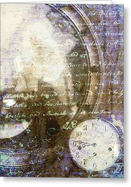 Antique Mirror And Clock Greeting Card by Suzanne Powers
