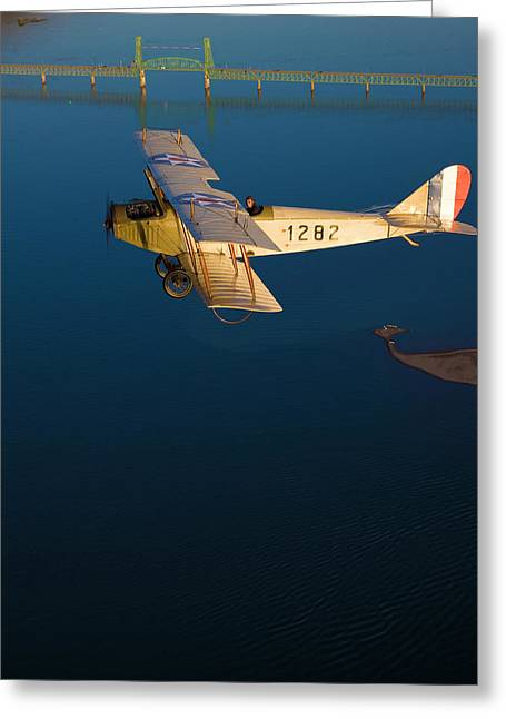 Antique Plane Flies Over The Columbia Greeting Card
