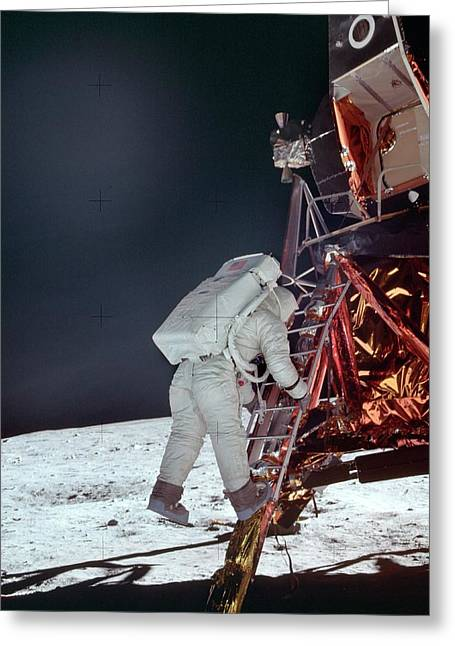 Apollo 11 Moon Landing Greeting Card by Image Science And Analysis Laboratory, Nasa-johnson Space Center