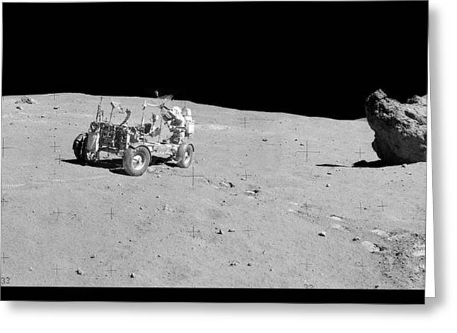 Apollo 16 Lunar Rover Greeting Card by Nasa/detlev Van Ravenswaay