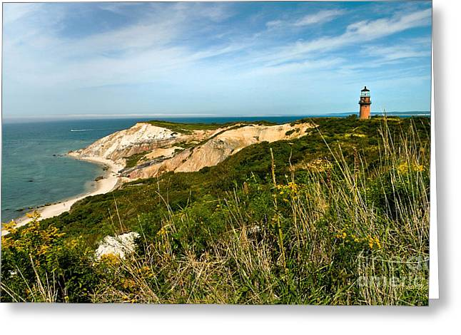 Aquinnah Gay Head Lighthouse Marthas Vineyard Massachusetts Greeting Card by Michelle Wiarda
