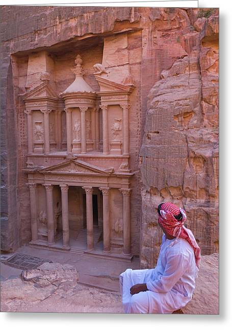 Arab Man Watching Facade Of Treasury Greeting Card