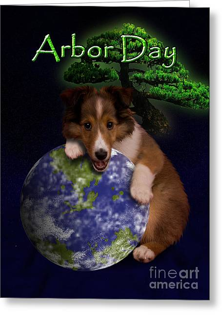 Arbor Day Sheltie Puppy Greeting Card by Jeanette K