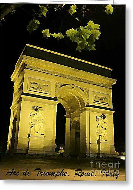 Arc De Triomphe At Night Greeting Card by John Malone
