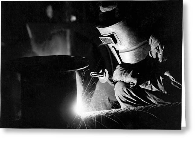 Arc Welder At Work Greeting Card by Underwood Archives