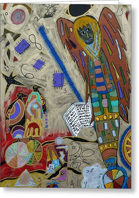 Greeting Card featuring the mixed media Archangel Jeremiel by Clarity Artists