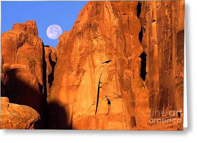 Arches Moonset Greeting Card by Inge Johnsson