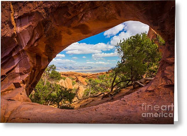 Arches Window Greeting Card by Inge Johnsson