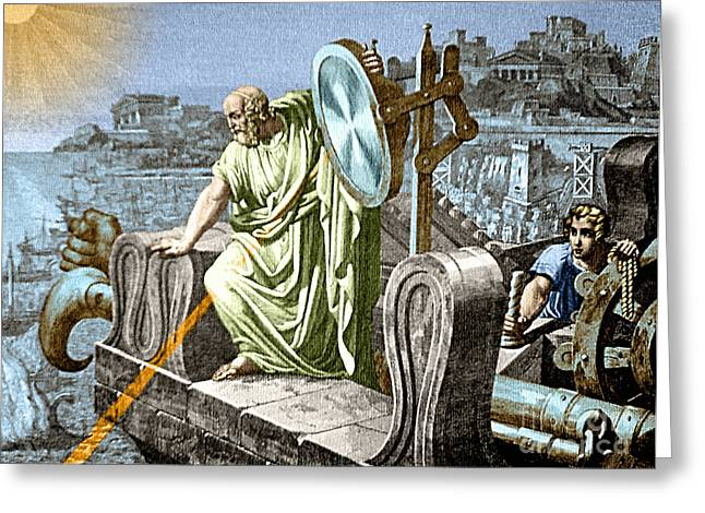 Archimedes Heat Ray Siege Of Syracuse Greeting Card by Science Source