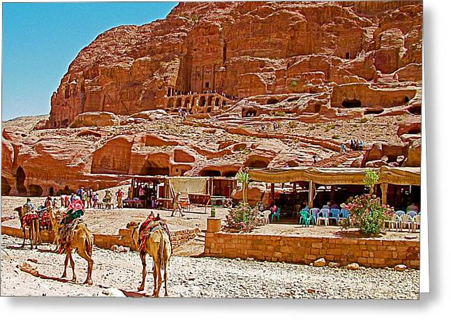 Area In Front Of Tombs Of The Kings In Petra-jordan Greeting Card by Ruth Hager
