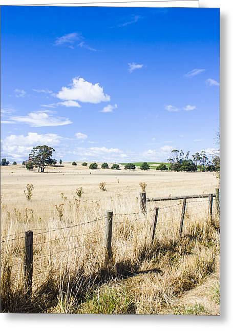 Arid Agricultural Landscape In South Tasmania Greeting Card by Jorgo Photography - Wall Art Gallery