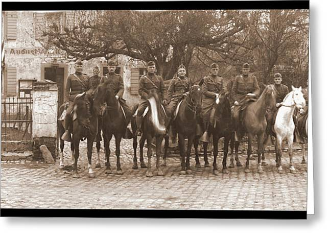Army Officers On Horseback, Likely Greeting Card