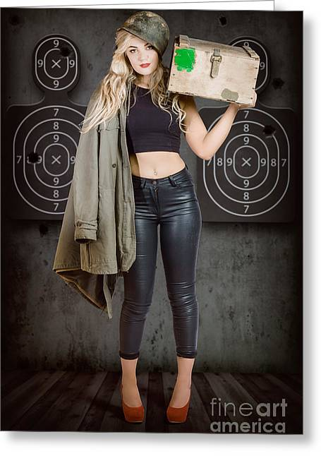 Army Pinup Girl At Rifle Range. Bullet Proof Greeting Card by Jorgo Photography - Wall Art Gallery