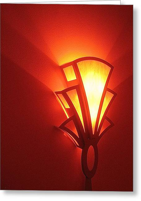 Greeting Card featuring the photograph Art Deco Theater Light by David Lee Guss