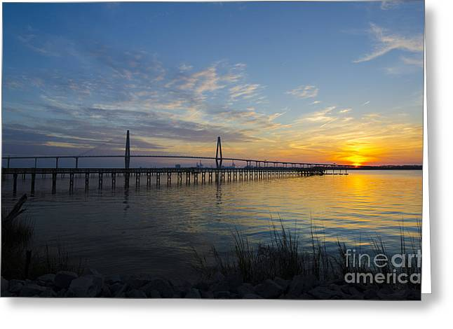 Greeting Card featuring the photograph Sunset Over The Charleston Waters by Dale Powell