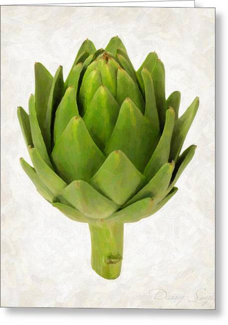 Artichoke Isolated On White Greeting Card by Danny Smythe