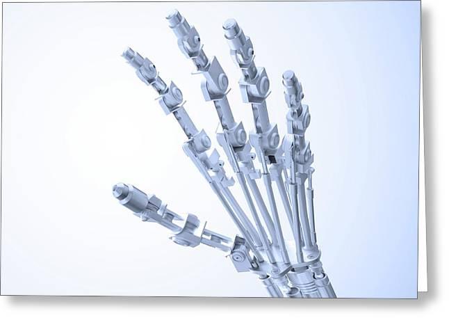 Artificial Hand Greeting Card by Andrzej Wojcicki