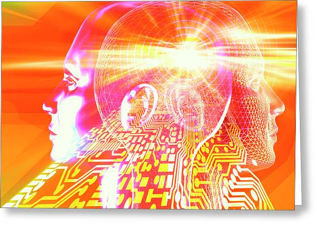 Artificial Intelligence Greeting Card by Alfred Pasieka/science Photo Library