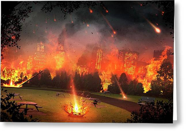 Artwork Of A City Hit By Meteorites Greeting Card by Mark Garlick