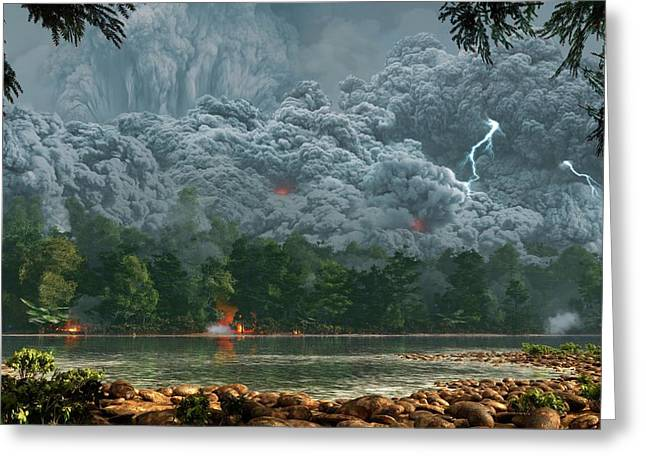 Artwork Of A Pyroclastic Flow Greeting Card by Mark Garlick
