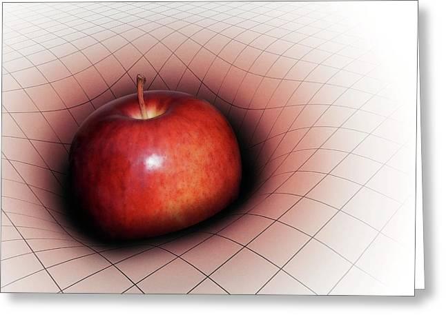 Artwork Of Apple Warping Spacetime Greeting Card by Mark Garlick