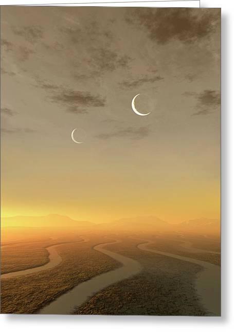 Artwork Of Exoplanet Kepler 452b Greeting Card by Mark Garlick
