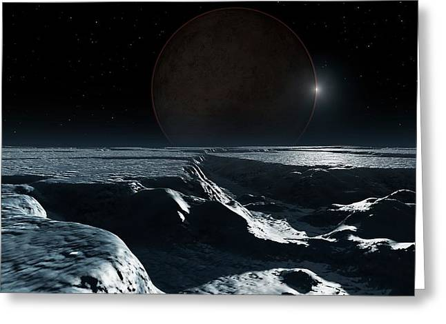 Artwork Of Pluto Seen From Charon Greeting Card by Mark Garlick