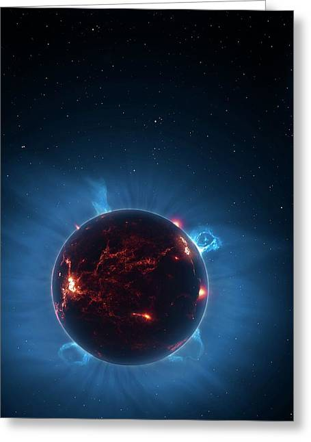 Artwork Of Volcanic World Eclipsing Star Greeting Card
