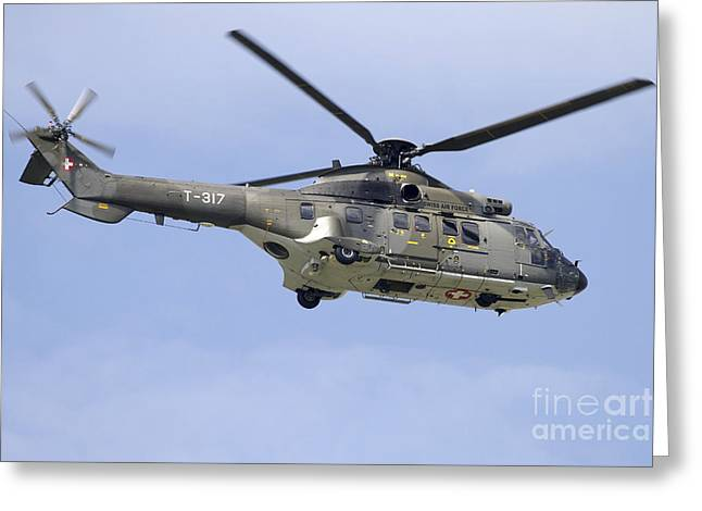 As332m1 Super Puma Helicopter Greeting Card