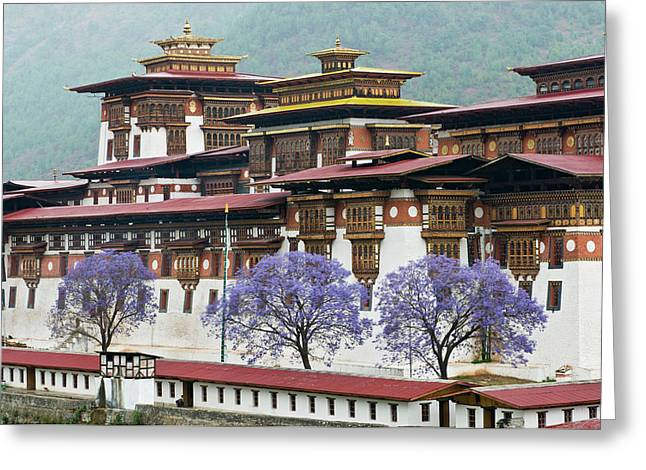 Asia, Bhutan Exterior View Of Punakha Greeting Card
