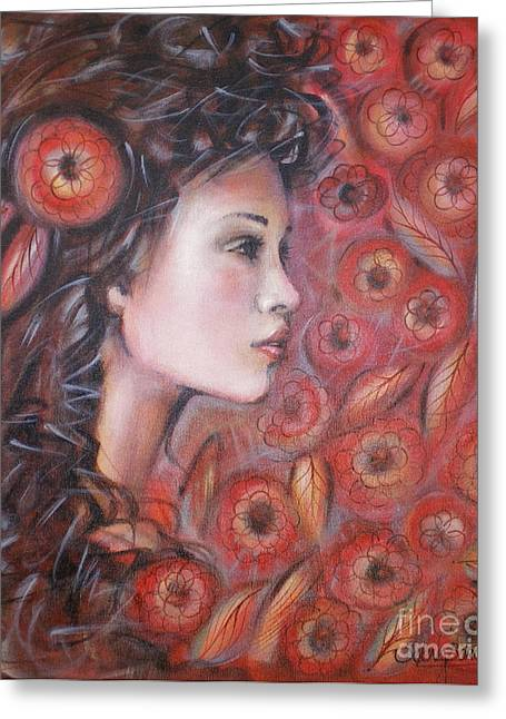 Asian Dream In Red Flowers 010809 Greeting Card by Selena Boron