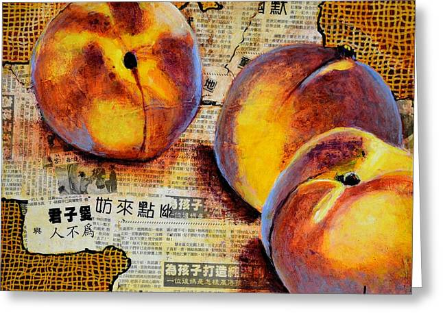 Asian Peaches Greeting Card by JAXINE Cummins