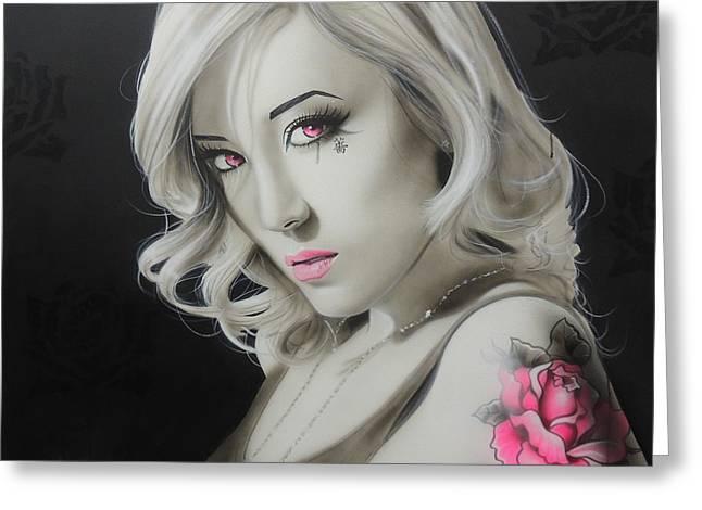 Sugar Skull - ' Asian Rose ' Greeting Card by Christian Chapman Art