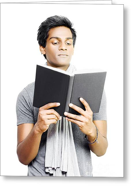 Asian Student Studying From Textbook Greeting Card by Jorgo Photography - Wall Art Gallery