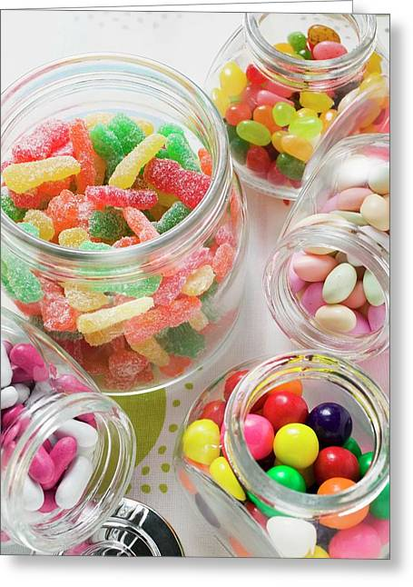 Assorted Sweets In Storage Jars Greeting Card