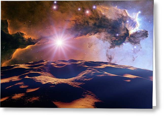 Asteroid And Eagle Nebula Greeting Card by Nasa, Esa, And The Hubble Heritage Team Stsci/aura)//detlev Van Ravenswaay