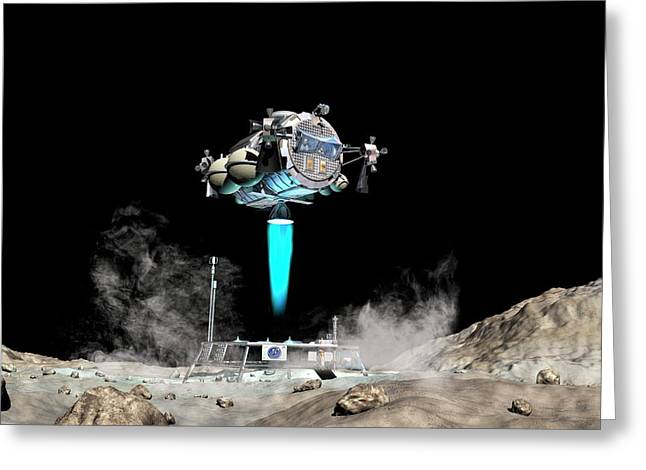 Asteroid Lander Departs Surface Greeting Card by Walter Myers