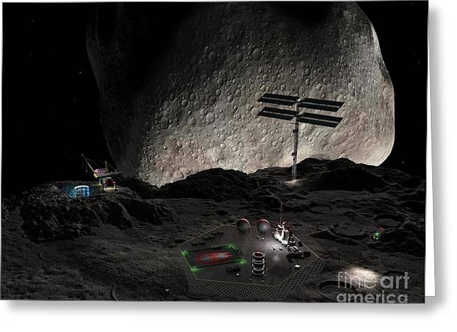 Asteroid Mining Settlement, Artwork Greeting Card by Walter Myers