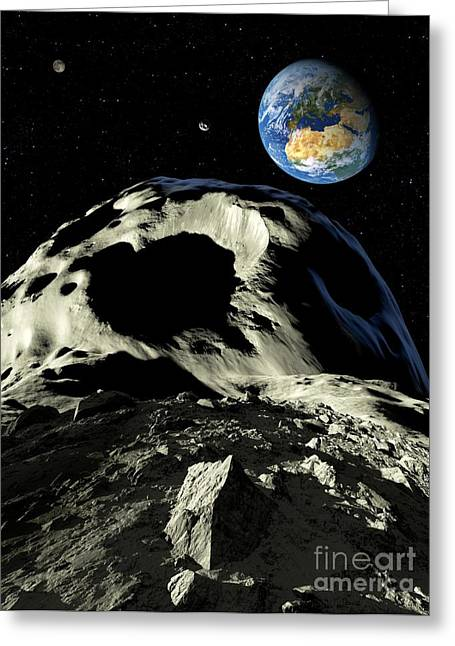 Asteroids Approaching Earth, Artwork Greeting Card by Detlev van Ravenswaay