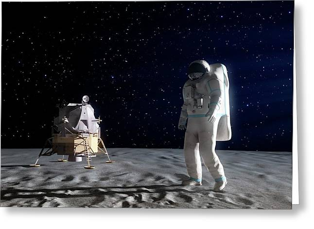 Astronaut On The Moon Greeting Card by Andrzej Wojcicki