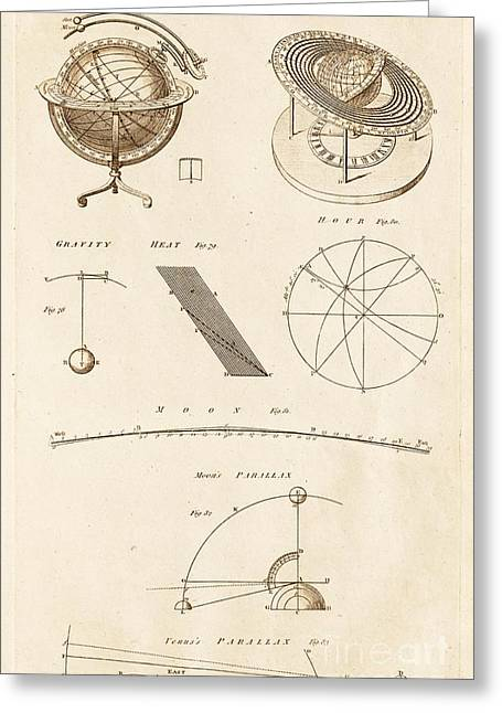 Astronomy Diagrams And Instruments Greeting Card by David Parker